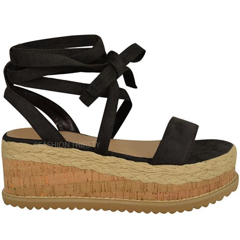 Gosh Flat With High Wedges womens flatform cork espadrille wedge sandals ankle