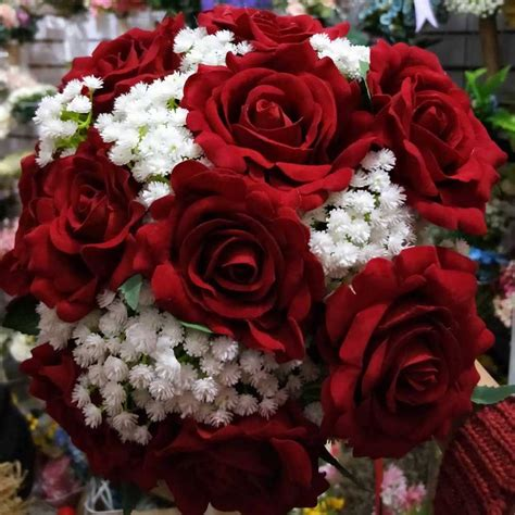 real images artificial red rose wedding bouquet