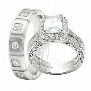 3pcs his and hers titanium 925 sterling silver wedding With matching wedding ring sets his and hers