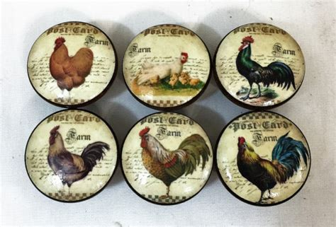 french country cabinet knobs set of 6 french country chicken rooster cabinet knobs