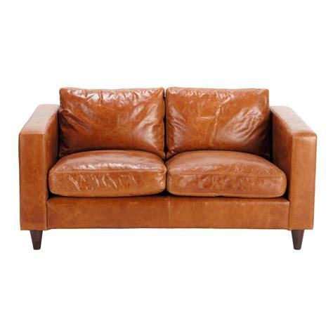 vintage sofa leder vintage sofa 2 sitzer aus leder braun henry henry maisons du monde