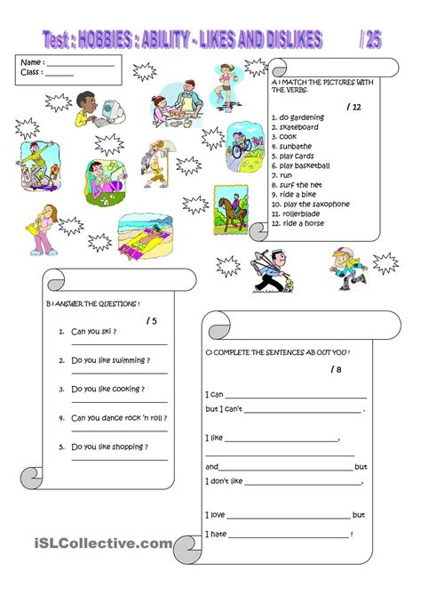 hobbies hobbies worksheets time