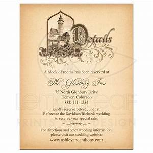 fairy tale wedding details card medieval castle With gothic castle wedding invitations