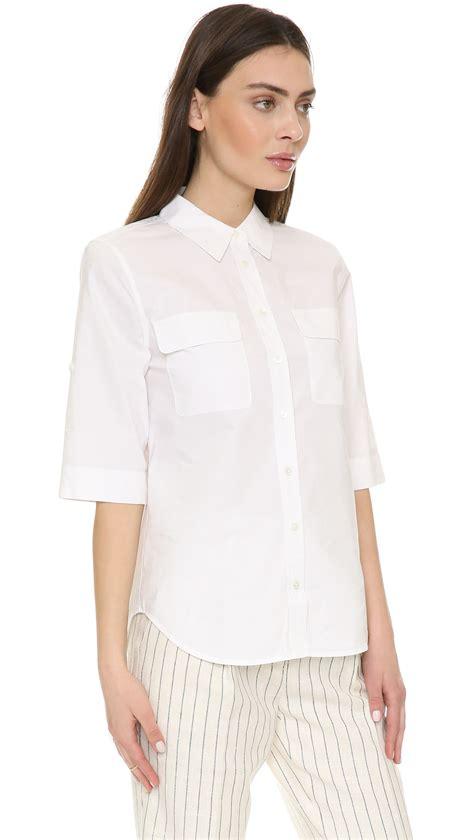 equipment slim signature blouse lyst equipment sleeve slim signature blouse in white