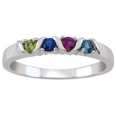 family birthstone ring   white  yellow gold