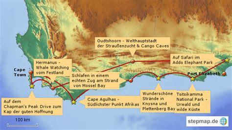 karte garden route suedafrika  blog