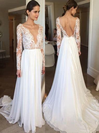 A-Line Deep V-Neck Backless Chiffon Lace Wedding Dress ...