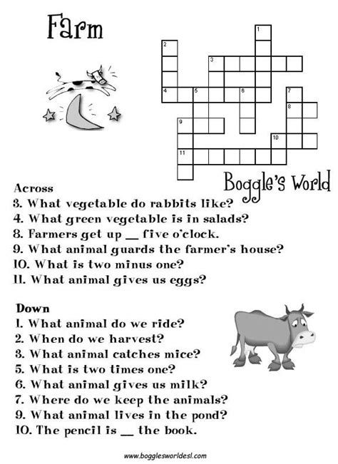 farm crossword google search english activities