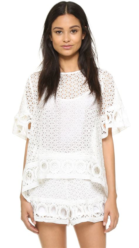 lace blouse factory lace blouse in white lyst