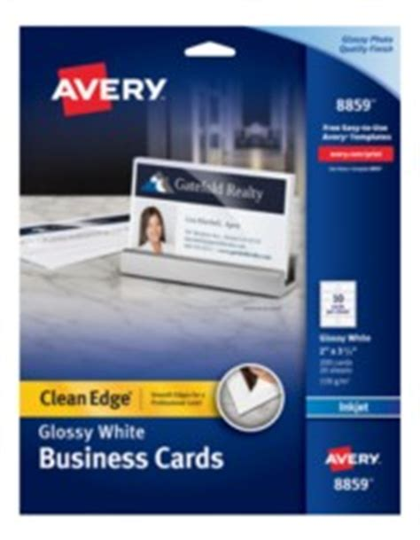 avery business card template 8859 avery clean edge white glossy business cards