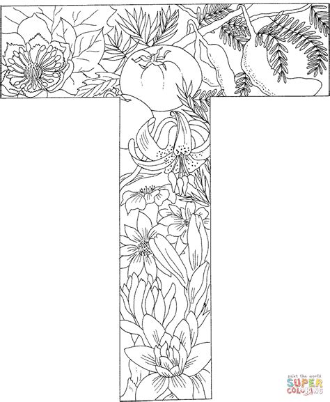 Kleurplaat Letter T by Letter T With Plants Coloring Page Free Printable