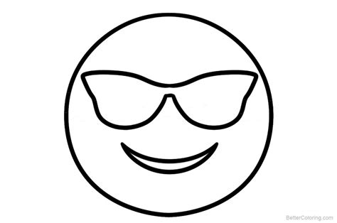 emojis coloring pages smile  glasses  printable