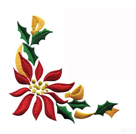 poinsettia floral border 3 embroidery design