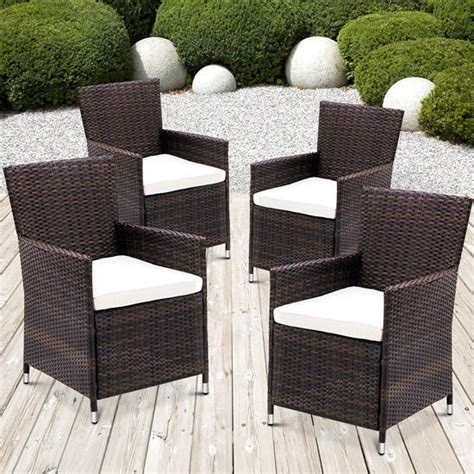 Ebay Patio Sets Uk by 4 X Rattan Garden Furniture Dining Chairs Set Outdoor