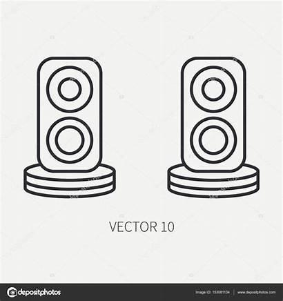 Computer Line Illustration Speakers Cartoon Device Vector