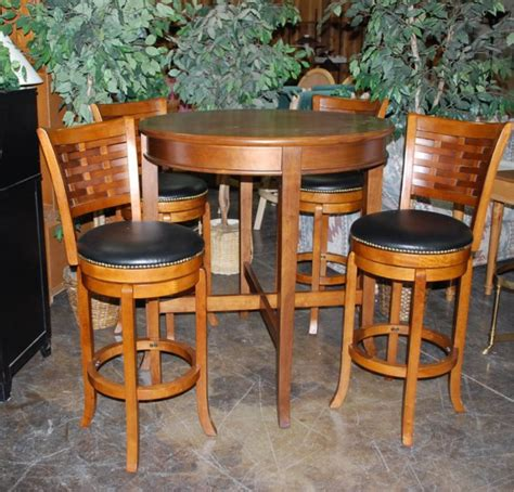 pub bistro table and 4 matching chairs