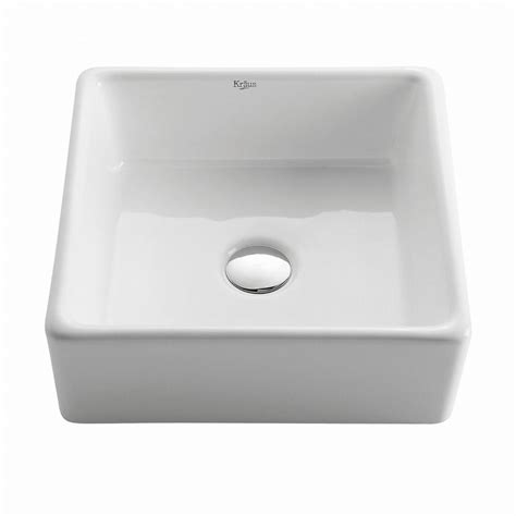 home depot kraus sink kraus square ceramic vessel bathroom sink in white kcv 120
