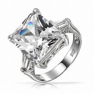 emerald cut classic cz engagement ring with baguette side With emerald cut cz wedding rings