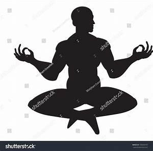 Monk In Meditation, Silhouette, Vector Illustration ...