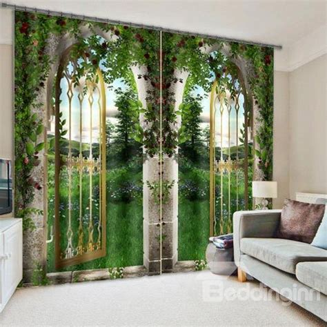 arched doors  flowers  grasses printed natural
