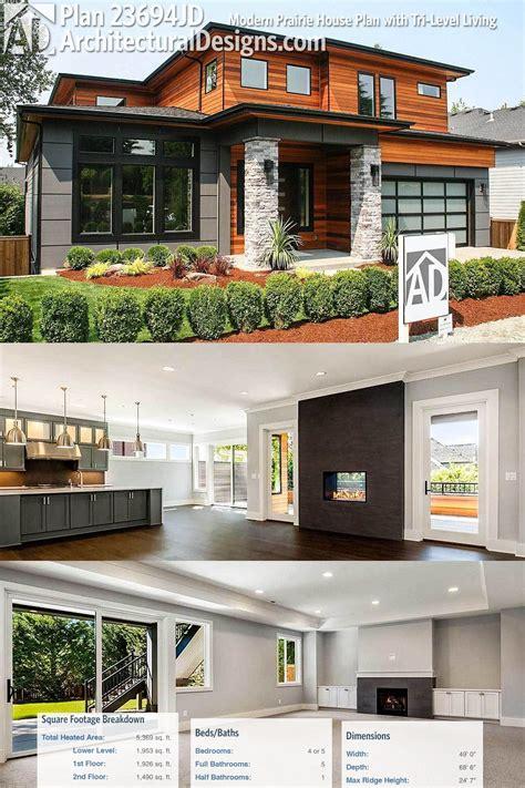 Plan 23694jd Modern Prairie House Plan With Tri Level