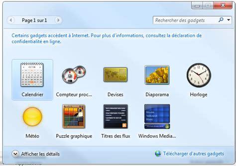 gadget pour bureau gadget de bureau comment afficher les gadgets windows 7