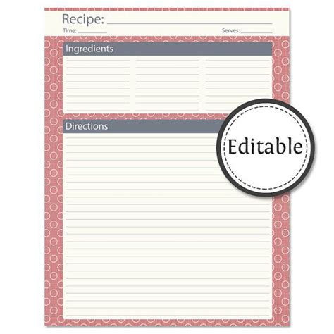 recipe card full page fillable instant