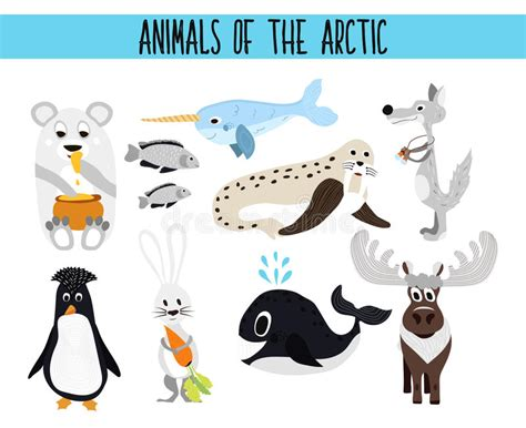 Set Of Cute Cartoon Animals And Birds Of The Arctic On A