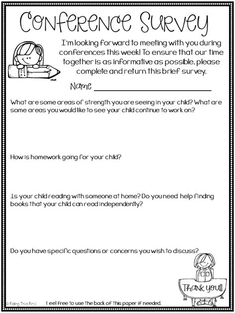 hoppin preppin for conferences freebie 574 | Parent%2BTeacher%2BConference%2BSurvey%2BFree