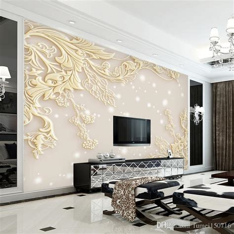 stereo luxurious embossed wallpaper large wall painting