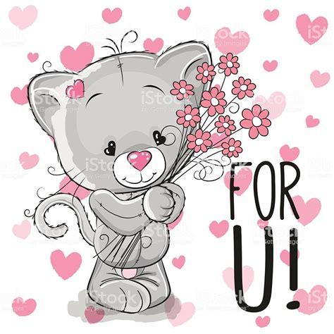 valentine card cute cartoon kitten  flowers   heart
