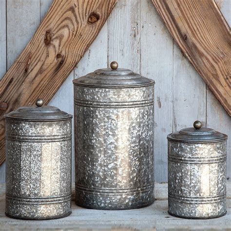kitchen decorative canisters park hill collection galvanized canisters set ze5047