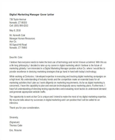 marketing cover letter templates  sample