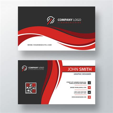 red wavy psd business card template  psd psd