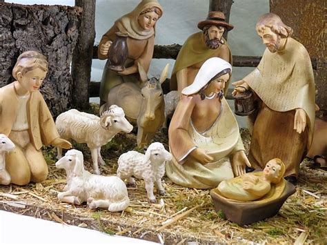jesus christmas crib statue set buy crib nativity set 6 inch wood effect figures with stable