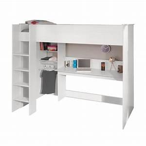 Lit Mezzanine Blanc : lit mezzanine soen 90x200cm coloris blanc maison et styles ~ Teatrodelosmanantiales.com Idées de Décoration
