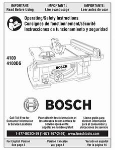 Bosch 4100 Operating  Safety Instructions Manual Pdf