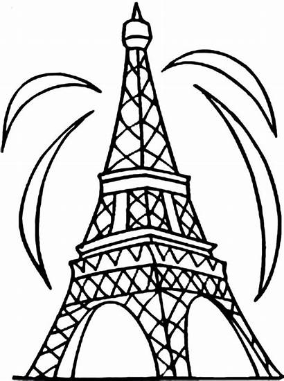 Tower Eiffel Coloring Fireworks Pages Colouring Pisa