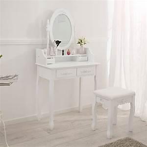 Coiffeuse Avec Tiroir : coiffeuse meuble table de maquillage tabouret commode avec miroir 4 tiroir blanc ebay ~ Teatrodelosmanantiales.com Idées de Décoration