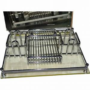 barclay geneve silver chrome lucite flatware caddy or With letter caddy