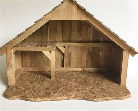 vintage wood stable nativity creche wooden christmas decor