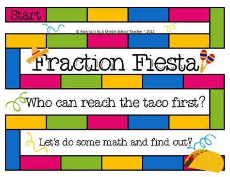 Making It As A Middle School Teacher Math Game Monday  Fraction Fiesta! Check Out This New