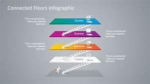 Connected Floors 4 Steps Powerpoint Diagram