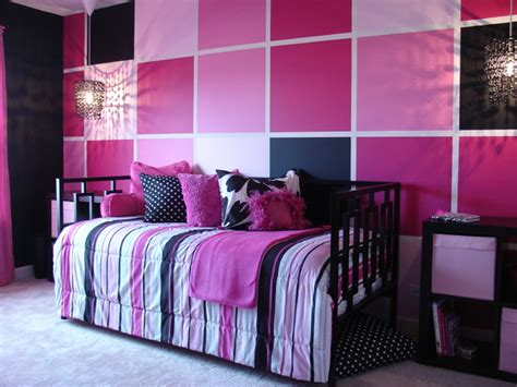 pink  black tween bedroom contemporary chicago