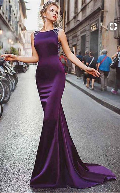 satin purple mermaid prom dresses  beadinglong formal