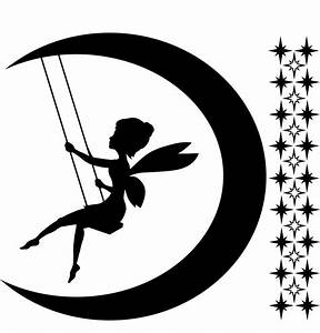 tinkerbell with moon vector | Fairy On Moon Silhouette ...