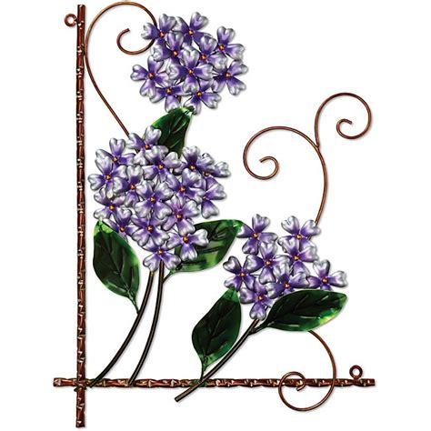 Artificial fake flower hydrangea type: Deco Breeze Metal Purple Hydrangea Wall Decor - Free ...