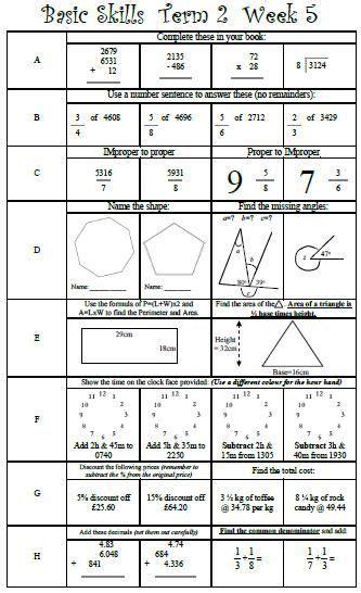 basic skills maths ks2 y5 y6 y7 grade 5 grade 6 grade 7