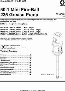 Graco 309966h 50 1 Mini Fire Ball 225 Grease Pump Users Manual
