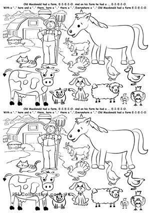 farm animals animal worksheets simple  tense farm